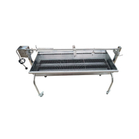 Stainless Steel 304 Grade Charcoal Rotisserie BBQ (1.3mtr) - BIG SPIT - 40kgs meat capacity Motor!!