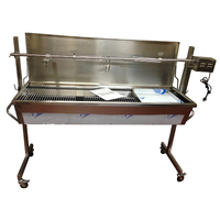 Warrior Heavy Duty 1.5m  Charcoal Rotisserie BBQ Spit - Stainless Steel - 40kgs capacity