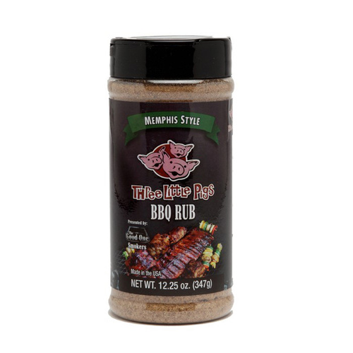 'Three Little Pigs' Memphis Style BBQ Rub 12.25oz Shaker Jar - Made in USA